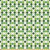 ABAKUHAUS Grün Stoff als Meterware, Kreise verschiedener