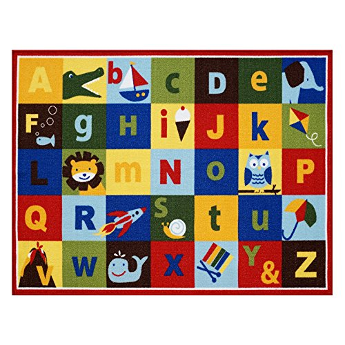 "Teach Me Alphabet Learning Carpets Cute Animal Educational Play Mat Bedding Area Rugs, 40""x50"", Multicolor"