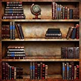 #9: OFILA Retro Bookshelf Backdrop 5x5ft Photography Background Books Tellurion Wood Case Study Room Wallpaper Party Decoration Adult Children Photos Video Studio Props