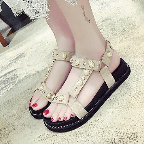 RUGAI-UE Perle d'été à fond épais Sandales Chaussures Rivet plat Beige