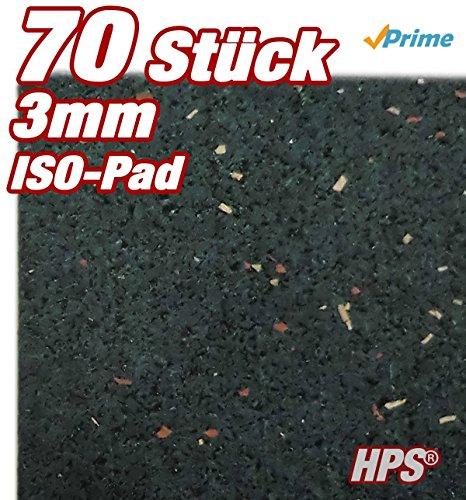HPS® 70Stück 3mm - Gummipad, Terrassenpad, Gummigranulat, für den Terrassenbau. Diffusionsfähige Gummimischung als Unterlage und zum fein justieren für Unterkonstruktionen - Gummipads für Terrassenbau