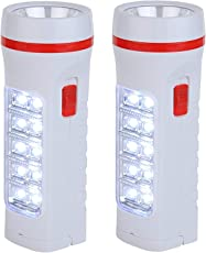 Docoss- Pack Of 2-2 In 1 Rechargeable Torch Portable Bright Emergency Light 10 Led With Torch + Emergency Light,White