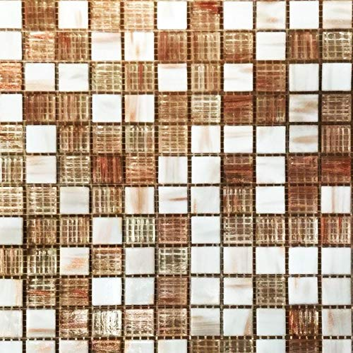 XEO Home Marble & Crystal Glass Square Mosaic Tiles Sheet Walls Floors Bathroom Kitchen - Sample Approx 6cm x 6cm