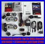 komplettes SNES Zubehör Set: Netzteil AC Adapter + 2 Original Controller + alle Kabel Chinch AV Cinch etc. für SNES Super Nintendo Konsole