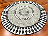 Trendcarpet Rund Teppich 120 cm - Marrakech (rund) (schwarz/grau/weiß) Größe Rund 120 cm