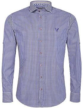 Gweih & Silk Trachtenhemd Body Fit Toni Blau von