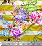 Soimoi Gelb Viskose Chiffon Stoff Streifen, Lavendel &
