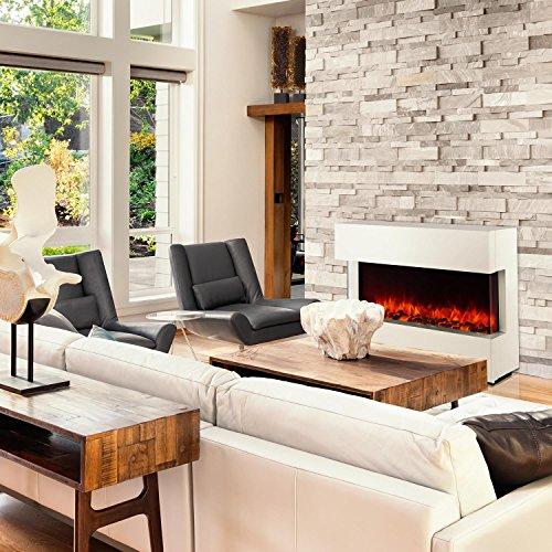 Klarstein Studio-1 • elektrischer Kamin • E-Kamin • Kaminofen • LED-Flammensimulation • große Front • MDF-Holz • 750 und 1500 W Leistung • Heizlüfter für 40 m² • Fernbedienung • Flammeneffekt steuerbar • Glasseitenteile und Kohlebett • weiß - 2