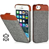 StilGut UltraSlim Case, Fashion-Serie, Tasche für Apple iPhone 5, 5s & iPhone SE, Fischgrät / Cognac