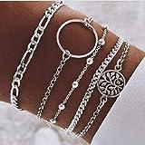 Simsly Lot de 5 bracelets en argent avec perles et chaînes pour femmes et filles