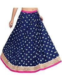Gaurangi Women's Indigo Designer Gold Hand Block Printed Floor Length Rayon Party Wear Skirt Lehanga