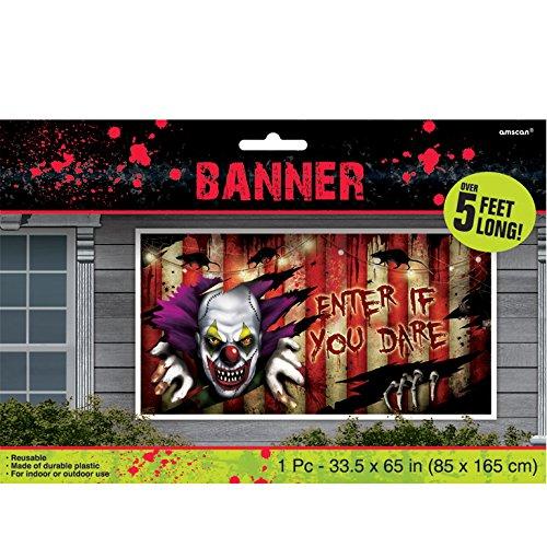BANNER - HORROR CLOWN - 165 cm, Halloween Deko