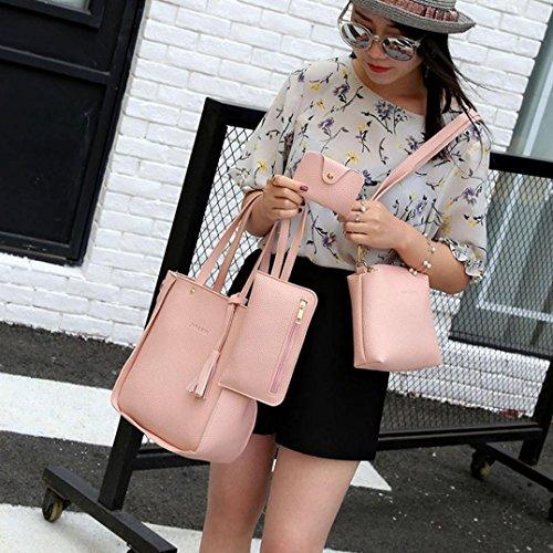 4 Set Borse Donna,Kword Donna Cerniera Borsa Borse Spalla Tote Bag Crossbody Borsa Portafoglio Carta set borse rosa