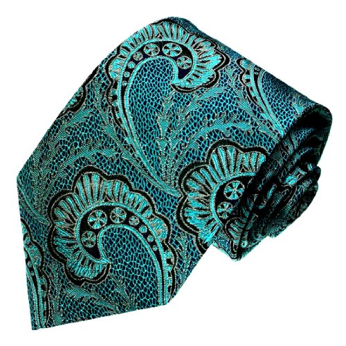 LORENZO CANA - Marken Krawatte aus 100% Seide - türkis petrol schwarz Paisley Muster - 84427