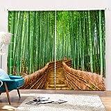3D Cortinas impresa 2 Paneles Para Sala De Estar Dormitorio Decoración Ojal/Anillo Paneles De Ventana Superior - Bamboo Trail