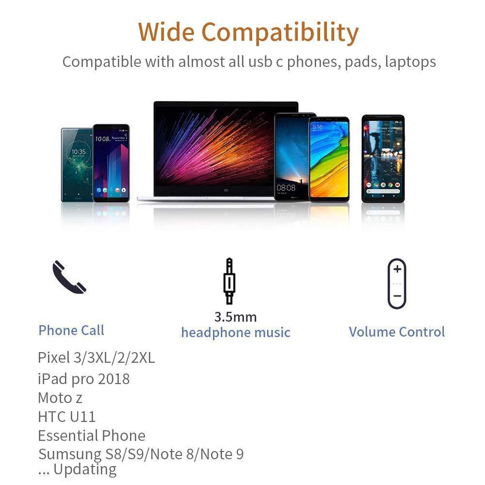 Moto Z//Z2 and More Adaptador Aux USB Tipo C con Hi-Res para Google Pixel 3//3 XL2//2 XL Essential Phone 2018 iPad Pro Kimwood Adaptador de Tipo C a Jack 3.5 mm para Auriculares
