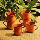 ExclusiveLane Dual-Glazed Studio Pottery Clay Cup Set, 100 ml, Set of 6, Earthen Brown
