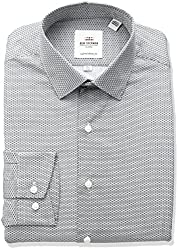Ben Sherman Mens Broken Circle Print Spread Collar Dress Shirt, Black/White, 17.5 Neck 36-37 Sleeve