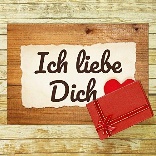 Große XXL Karte mit Umschlag (A4) /Motiv Ich liebe Dich Herz rustikal/Edle Design Klappkarte/Hochzeit/Liebe/Hochzeitstag/Valentinstag/Heiratsantrag/Edle Maxi-Karte
