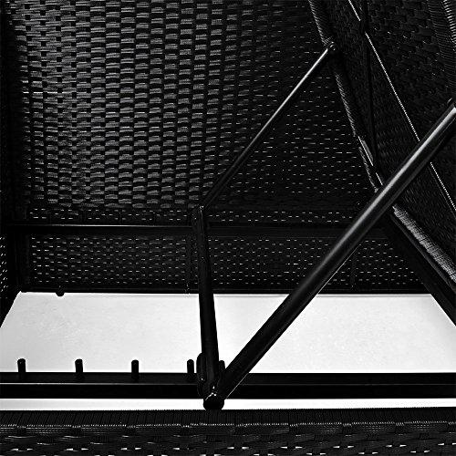 Polyrattan Liege mit Rückenlehne schwarz 7cm dicke Sitzauflagen verstellbarer Liegefläche - 4