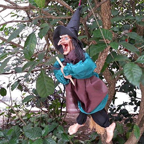 Himki Halloween fliegend Hexen hängende Figur Hexen mit Licht und Sound für Halloween Dekoration (Farbe zufällig)