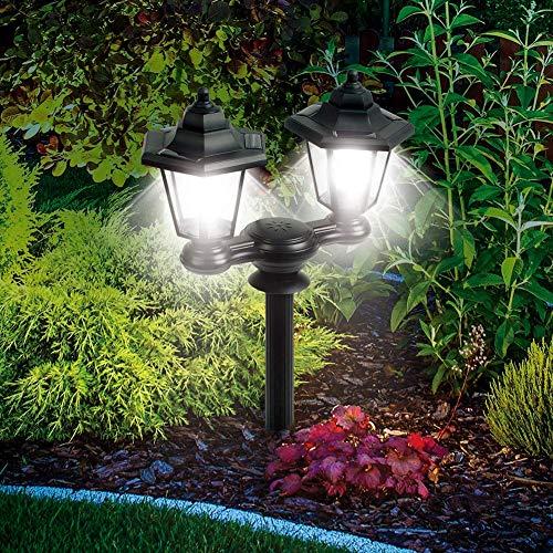 xiegons3 Solar Garten Licht, Retro Viktorianischer Stil Dual Kopf LED Laterne Lampe Wasserdicht Außen Sensitive Lichtsensor Lampe für Gehweg Garten Dekor - Stange Anteil oder Wandmontage -