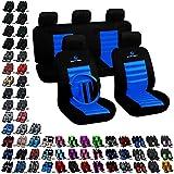 WOLTU 7264-a Housse de siège voiture universelle Auto, Siège de housse de voiture ,siège housse,couvre siège série Sport, Komplettset Volant avec Cover & Beltpad ,Noir Bleu