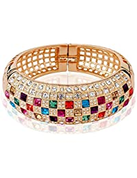 Peora Luxury Princess AAA Swiss Zircons 18K Rose Gold Plated Bangle Bracelet For Women & Girls