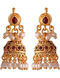 Ganapathy Gems Pink Gold Plated Jhumki For Women (8760) 8760