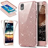 Coque Sony Xperia XA,Etui Sony Xperia XA,Intégral 360 Degres avant + arrière Full Body Protection Bling Brillant Glitter Transparent Silicone Gel Case Coque Housse Etui pour Sony Xperia XA,Or rose