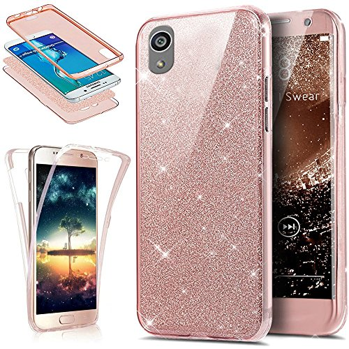 Coque Sony Xperia Z5,Etui Sony Xperia Z5,Intégral 360 Degres avant + arrière Full Body Protection Bling Brillant Glitter Transparent Silicone Gel Case Coque Housse Etui pour Sony Xperia Z5,Or ros