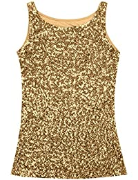Alvivi Damen Pailletten Metallic Retro Disco Tank Top Sparkle   Shine  ärmellos Weste Clubwear Tanz Weste für Party Club… 526d7cf682