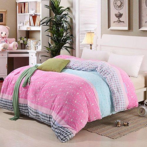UYDBKSJABM Two-Sided gepolsterte Quilt Korallen samt Bettbezug einzelne Cover Plüsch warmen Bettbezug-H 150 * 200cm(59x79inch)