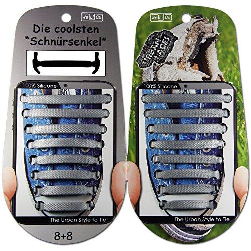 WeLiQu URBAN LACES (Silber) | Elastische Schnürsenkel ohne Binden aus Silikon, breit u flexibel, Gummi-Schnellverschluss, Kinder u Erwachsene