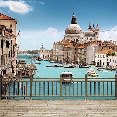 Venice Grand Canal Szene Photography Hintergrund Holz Boden bedruckt europäischen Stadt, Gebäude, Kirche Hölzerne Zaun Brücke Hochzeit Scenic Foto Booth Hintergrund