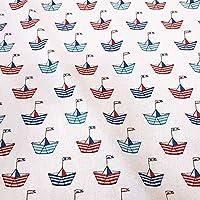 Stoff Baumwolle Jersey Anker Maritim Leuchtturm blau rot weiß braun Kleiderstoff