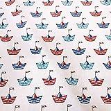 Unbekannt Stoff Meterware Baumwolle Papierschiffchen rot blau weiß Boot Schiff maritim