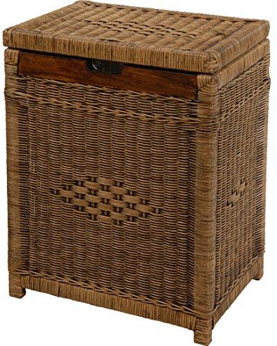 Wäschekorb mit Holzrahmen aus Rattan, Vintage Braun - Versandkostenfrei in DE