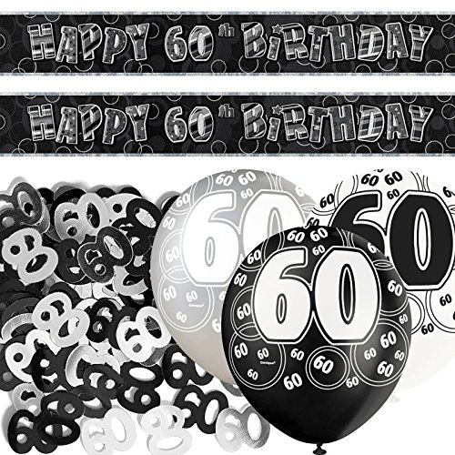 Black Silver Glitz 60th Birthday Banner Party Decoration Pack Kit Set by Happy Birthday