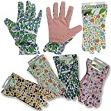 LADIES WOMENS PATTERNED FLORAL GARDENING GARDEN PROTECTIVE GLOVES MEDIUM/LARGE
