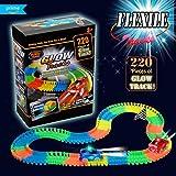 ACTRINIC Autorennbahn Spielzeug,Rennstrecken mit 220 Stück Flexible Tracks Leuchten in der Dunkelheit.Auto Spur mit Einem Blinkenden 2 LED,RennautoSpielzeug Rennbahn für Kinder 3 Jahre und bis.