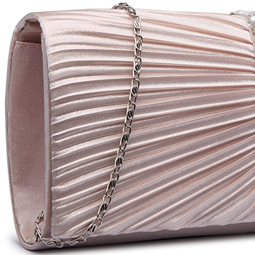 Miss LuLu Damen Tasche Mädchen Clutch Bag Strassstein Handtasche Hochzeit Abendtasche Kettentasche Umhängetasche glitzernd (LY6683-Hellblau) LY6683-Nude