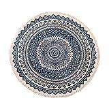 ZWBBO arazzo Tappeti Rotondi a Pavimento Mandala Camera da Letto Tappeto Porta Tappeto casa Decorazione Fatta a Mano in Cotone Zona Boho Tappeto (130X150cm)