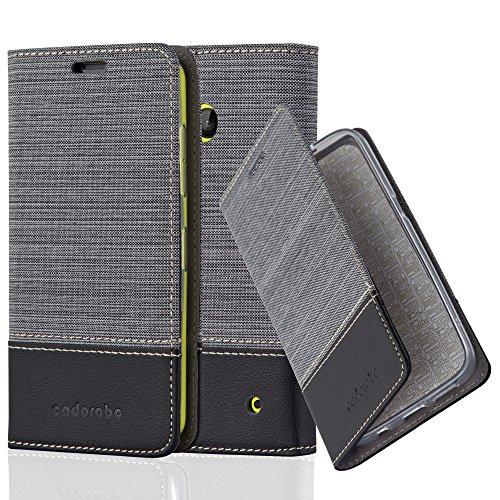 Cadorabo Hülle für Nokia Lumia 630 - Hülle in GRAU SCHWARZ – Handyhülle mit Standfunktion und Kartenfach im Stoff Design - Case Cover Schutzhülle Etui Tasche Book