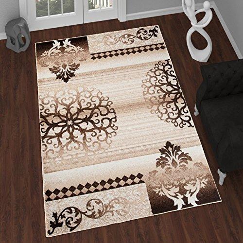 Tapiso Tango Teppich Modern Kurzflor Vintage Braun Beige Streifen Floral Ornament Abstrakt Muster Designer Wohnzimmer Ökotex 240 x 330 cm (Floral Teppich Streifen)