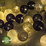 Morbuy Lichterkette mit 30 Baumwollkugeln, Batteriebetrieben Warmweiß Cotton Ball Lichter LED Party Themen Weihnachten Kinderzimmer Nachtlicht Dekorationen 4.8M / 30 Lichter, Kalte Graue Farbe
