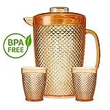 Tivoli Global Gläser mit Krug/1750 ml/350 ml/Bruchsichere Krug und Gläser/Hergestellt aus Acryl/Wasser, Rote Weingläser/Ideal für Tee, Kafee, Whiskey und Milch/3-teiliges Set/Orange
