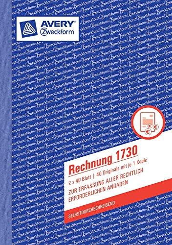 Avery Zweckform 1730 Rechnung, 1. und 2. Blatt bedruckt, SD, DIN A5, 2x40 Blatt (10er Vorteilspack)