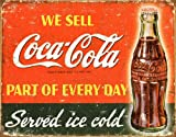 Memorabilia Tin Sign featuring The Iconic Coca Cola Image in a Vintage Worn Style 40x30cm
