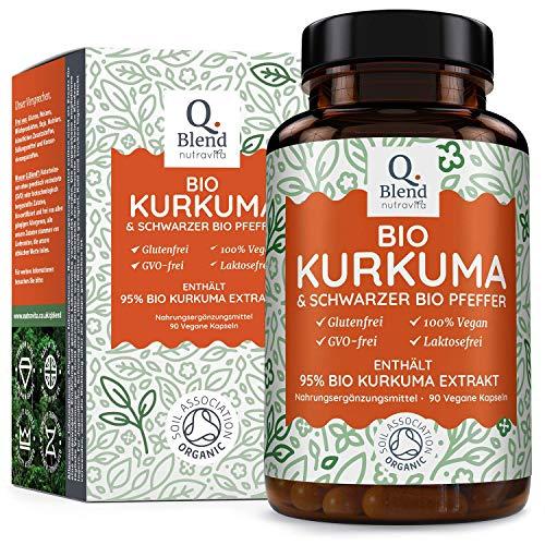 Bio 95% 1500 mg Kurkuma mit schwarzem Pfeffer Kapseln | Biokurkuma (curcuma) 95% Extrakt 1500 mg pro Tagesdosis | Hochdosiert | Zertifiziert Bio | Frei von Zusatzstoffen